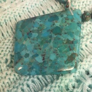 Teal/Turquoise/Brown Stone Style Necklace/Bracelet